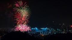 20160704 Fireworks at Dodger Stadium from Elysian Park-2 (Tony Castle) Tags: landscape los long exposure angeles fireworks stadium 4th july landmark dtla dodgers