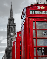 Phone Call in Edinburgh (cylynex) Tags: scotland edinburgh phonebox selectivecolor landscape street royalmile uk red europe travel traveling travels travelphotography nikon d800 santocommarato