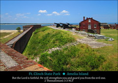Ft. Clinch State Park, Amelia Island, 2 Thessalonians 3:3 (Humbly Serving Christ) Tags: park county sky usa building brick beach grass saint st wall america river outdoors island us war state florida fort united coastal civil sound marys ft fl states amelia nassau cumberland fernandina cannons clinch