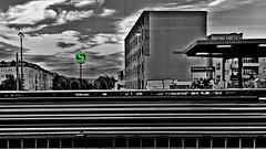 HDR at Twilight (ANBerlin) Tags: street bw white black color building berlin green apple station sign architecture night clouds train germany logo deutschland lights licht blackwhite twilight neon track nacht dusk platform wolken rail railway zug bahnhof infrastructure architektur sw grn splash sbahn bahn farbe gebude accent schwarz hdr extraordinary prenzlauerberg bahnsteig selective infrastruktur iphone abenddmmerung greifswalder weis spritzer selektion singlecolor akzent keycolor iphotography anb030 iphonography ausergewhnlich greifswalderstrase iphone6s 6splus schlsselfarbe