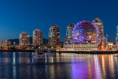Blue hour at Science World (Sonika Arora 604) Tags: street city nightphotography pink blue red canada mountains nature water beautiful night vancouver buildings reflections landscape boats outdoors lights downtown cityscape nightlights bc purple outdoor streetlights britishcolumbia towers citylife cityscapes naturallight citylights falsecreek lighttrails blueskies bluehour condos olympicvillage starburst scienceworld downtownvancouver landscapephotography beautifulbc explorebc explorecanada candaflag explorevancouver