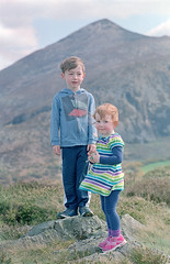The intrepid pair. (Daire Quinlan) Tags: mountain color colour film 35mm diy nikon fuji mark lara nikkor wicklow f25 400asa asa400 gorse burnoff quinlan 105mm fe2 c41 400h adamovic ciyc41 fujixpress carrigoona
