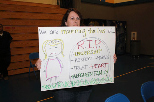 Evergreen member mourns situation in her district