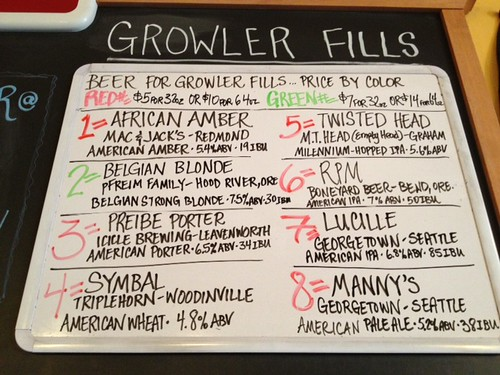 Beer for growler fills, Friday 5/10/2013 7:23pm (filling til 7:45)