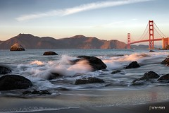 Baker Beach (universini) Tags: sanfrancisco california bridge sunset sky seascape beach water coast waves sfo goldengate slowshutter canon5d bakerbeach sini mandya universini siddegowda nidagatta