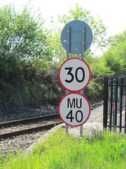 Network Rail speed restriction signs 30 and MU 40 at Luxulyan station, Cornwall. (johnpaddy22) Tags: china uk lines station train cornwall railway clay valley freight dries bugle luxulyan kernick treviscoe