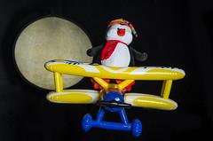 Penguins!  In Space! (pm107uk) Tags: stilllife moon blackbackground studio penguin aeroplane biplane k5 smcpentaxfa35mmf20al