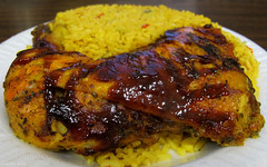 Cold honey BBQ chicken and mixed rice & corn (Coyoty) Tags: food cold chicken yellow corn rice bbq honey barbecue cafeteria