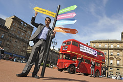 Humza Yousaf gives the G8 a sign (SCIAF Photo) Tags: world road charity bus scotland glasgow georgesquare hunger journey if leaders campaign strathclyde global g8 appeal sciaf scottishcatholicinternationalaidfund ifcampaign