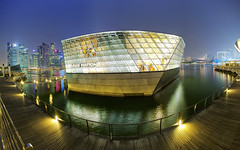 Louis Vuitton, Singapore MBS (kozaw) Tags: blue light urban panorama reflection water fashion night marina mall shopping hotel bay louis sand nikon singapore asia architectural hour bluehour sands exploration vuitton asean buidling mbs archi marinabaysands d700 kozaw kozawphotography