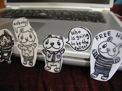 conversation stickers (Pippypippy) Tags: bw streetart cute bunnies smile smiling animal pen pencil ink cat happy sticker stickerart kitten chat fuzzy stripes bears small adorable kawaii owl hugs sharpie paws lapin animalart owlface mailinglabel bwart cartoonanimal cartoonbunny cartoondog owlart