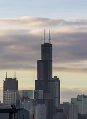 Sears > Willis (John Hill Photography) Tags: roof sky cloud sun chicago tower rooftop skyline architecture clouds sunrise canon john timelapse flickr day time cloudy sears garage parking hill l hancock trump 70200 f4 willis lapse 70200mm chicagoist redring 60d