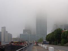 IMGP7538 (mattbuck4950) Tags: england london water fog europe unitedkingdom august canals canarywharf 2013 10upperbankstreet lenssigma18200mm londonboroughoftowerhamlets citycanal camerapentaxkx