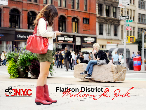 park camera new york city red plant ny girl bag square nikon cowboy iron phone flat boots district cell madison brunette avenue 5th fifth d90 vision:text=0668 vision:outdoor=0745