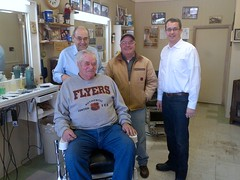 Monte at Webster's Barbershop in Glencoe as part of his Barbershop Tour to raise awareness about the trades tax.