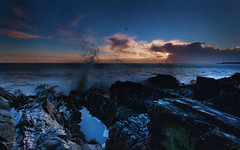 358 of 365 - A spray of sunrise (fearghal breathnach) Tags: light sea sun seascape water birds clouds sunrise canon photography photo rocks waves photos shoreline greystones wideangle spray rays wicklow ultrawide 1022 efs1022 fearghalbreathnach canonefs1022 httpswwwfacebookcomfergphotos