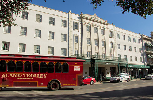 Street Scene in front of the Menger Hotel