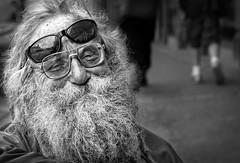 street portrait blackandwhite man sunglasses beard mono glasses eyes candid homeless monochromatic destitute anneworner