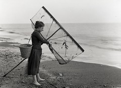 H00468 Shrimping at Hastings c.1890 (East Sussex Libraries Historical Photos) Tags: sea seaweed net girl costume sand basket library shingle victorian hastings 1890 shrimping glassplatenegative georgewoodscollection