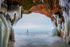 Cave Communications (Doug Wallick) Tags: winter lake ice wisconsin islands text great superior overcast communication caves national shore cornucopia lightroom spectacle apostle a55
