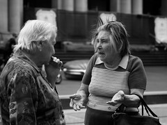 (midgley.derek) Tags: street ladies friends people hands candid strangers australia melbourne olympus story elderly expressive conversation animated emotional talking drama tension 45mm bourke concentrating em5 q3023692
