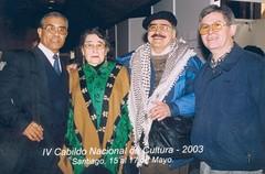 Con Margot Loyola, Osvaldo Cádiz y Julio Mariángel, de la Universidad Austral de Valdivia. IV Cabildo Nacional de Cultura. Santiago, Región Metropolitana, 15-17 de mayo de 2003.