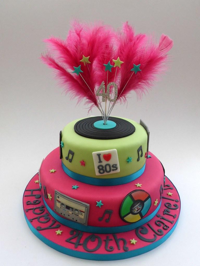 80s Themed 40th Birthday Cake Fairy Dust Bakery Tags Pink Green Simon