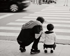 people (Laia Cagg) Tags: street family boy people bw car children dad child son blackwhitephotos