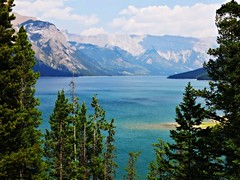Banff NP ~ Lake Minnewanka - HSS! (karma (Karen)) Tags: trees canada mountains topf25 clouds shadows lakes pines alberta 4summer orton canadianrockies minnewanka hss banffnp canadanationalparks sliderssunday picmonkey