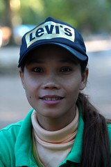 Ankor Green team (Stone.Rome) Tags: travel portrait people woman cute green smile face lady female asia cambodge cambodia khmer cap levi angkor