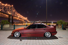 Ronny's Stanced E36 (Antrell Williams) Tags: new red urban skyline sedan canon honda lights mercedes benz orleans louisiana long exposure downtown angle euro unique low tripod great wide lifestyle toyota bmw static audi import bbs acura lowered lexus stance e36 stanced
