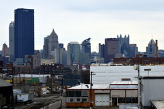 Strip District, Downtown Pittsburgh, February 2015 (evz922) Tags: street plaza city railroad urban usa tower history skyline buildings us office construction industrial pittsburgh view skyscrapers pennsylvania district steel towers smokestack strip highrise lovely past development pnc