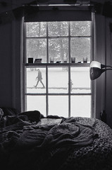 First Snow (xKendra) Tags: bw white snow black film window lamp outdoors bed indoors blankets
