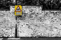 Road Sign Colour Pop (JB_1984) Tags: uk england blackandwhite bw london sign wall mono unitedkingdom bricks hammersmith roadsign brickwork selectivecolour colourpop londonboroughofhammersmithandfulham