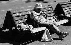 Knitting (v.sellar) Tags: blackandwhite marseille streetphotography