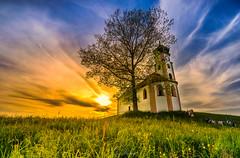 Little chapel (Pustekuuuchen) Tags: sunset sky sun nature architecture germany landscape sony chapel tokina oberschwaben volkertshaus