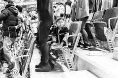 Big Fan... (Jetlag & A Camera Bag) Tags: boy blackandwhite game monochrome nikon baseball f100 korea hp5 nikkor ilford incheon wyverns