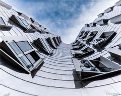 Gehry-Bauten (D.A. Lichtbilder) Tags: sky reflection water clouds germany frank deutschland nikon wasser himmel wolken gehry d750 nrw fx dsseldorf nordrheinwestfalen rheinturm medienhafen reflektionen 2016 japantag