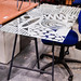 Glass top trestle table