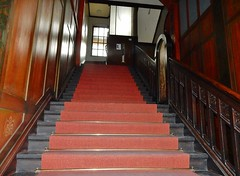 Red Stairs (mikecogh) Tags: wood berlin stairs carpet panels markus bannister