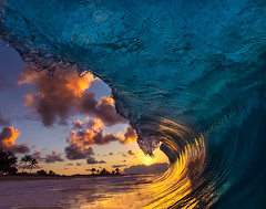 Sunrise Special (MicahRoemmling) Tags: ocean sky sun color water beautiful clouds sunrise surf oahu barrel wave sandybeach