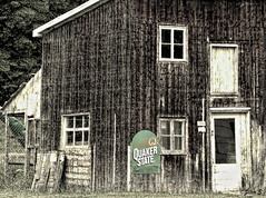 Quaker State (Jean S..) Tags: door windows grass vintage island day outdoor shed oil