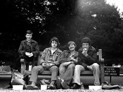 Self-indulgent 80's Street Photography. (Rep001) Tags: old gits hampton court school trip london ilford hp4 zenite 35mm film