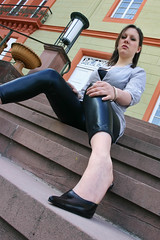 Helena 04 (The Booted Cat) Tags: sexy feet girl leather model highheels legs heels tight mules leggins