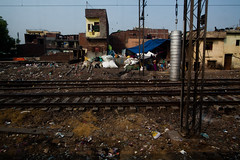 A View from a First Class Carriage Outside of New Delhi #7 (JSonnabend) Tags: poverty india train children garbage traintracks things litter newdelhi slums shantytown 2016 india2016