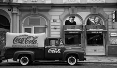 Would love experience 50s (jamie.bulman) Tags: canon24105f4 canon5dmarkiii canon blackandwhite cokecola truck car prague