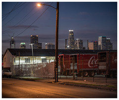 Los Angeles (fhoerr) Tags: california sunset architecture twilight nightshot streetlights chainlink powerlines downtownla trailer dtla trucking atdusk bigrig downtownlosangeles d610 laskyline