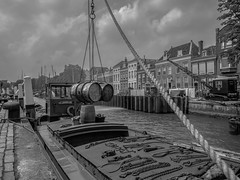 The Docks (DC P) Tags: street old city blackandwhite bw black streets holland building industry water netherlands lines architecture docks canon vintage wow river eos harbor blackwhite chains downtown ship angle harbour crane pov ships ngc barrel streetlife center rope historic line chain dordrecht hanging historical serene sailor soe streetview loading monumental the stoom dort builings wolwevershaven bej kuipershaven blackwhitepassionaward patricirs