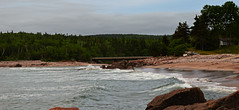 Black Brook Beach (TheNovaScotian1991) Tags: bridge trees canada beach water fisherman sand rocks novascotia kitlens 1855mm geology atlanticocean provincialpark cabottrail capebretonhighlands atlanticcanada ingonish nikond3200 roughwaves blackbrookbeach