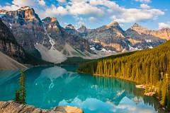 Moraine Sunrise Reflection (dezzouk) Tags: reflection sunrise nationalpark banff canadianrockies lakemoraine tenpeaks